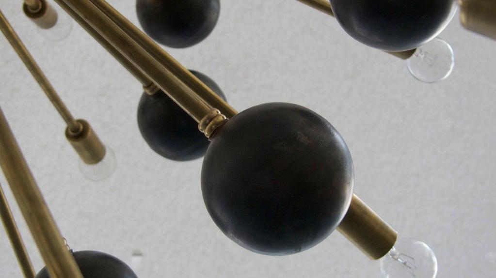 Large Brass Ball Sputnik Chandelier For Sale 3