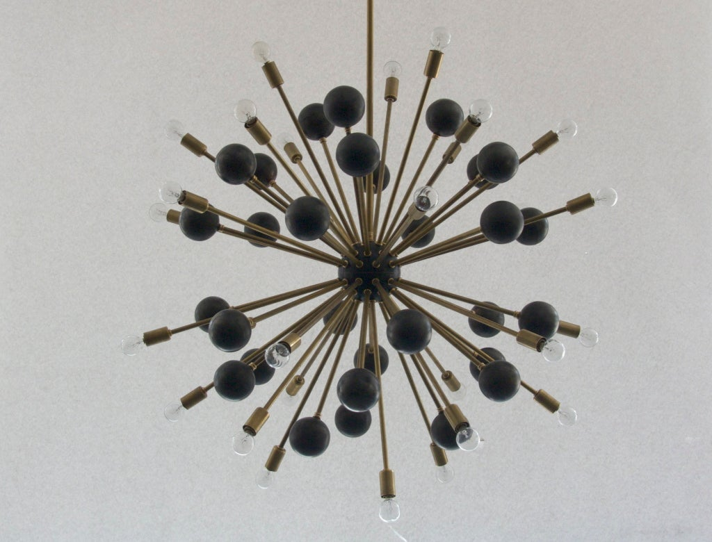Large Brass Ball Sputnik Chandelier 9