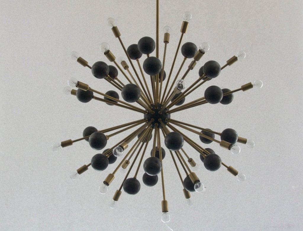 Large Brass Ball Sputnik Chandelier For Sale 4