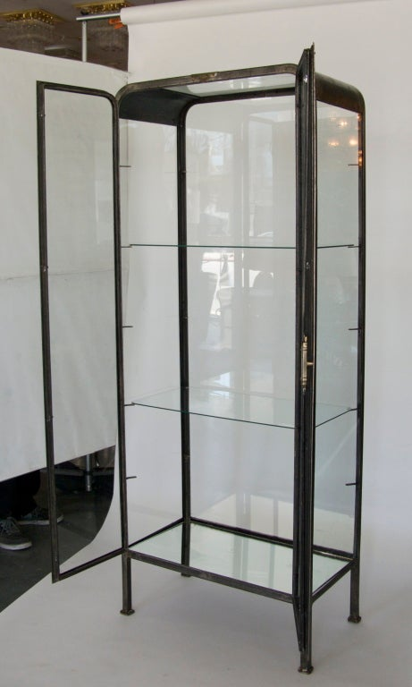 Art Deco Iron And Glass Vitrine At 1stdibs
