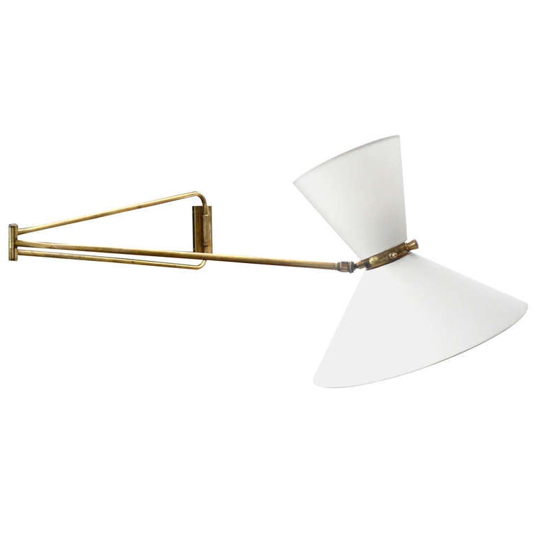 articulating wall sconce by pierre guariche at 1stdibs. Black Bedroom Furniture Sets. Home Design Ideas