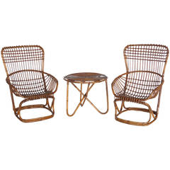 Set of French Bamboo and Rattan Armchairs with Table