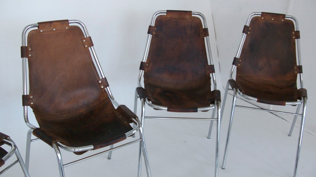 """Set of 6 """"Les Arc"""" Chairs by Charlotte Perriand 9"""