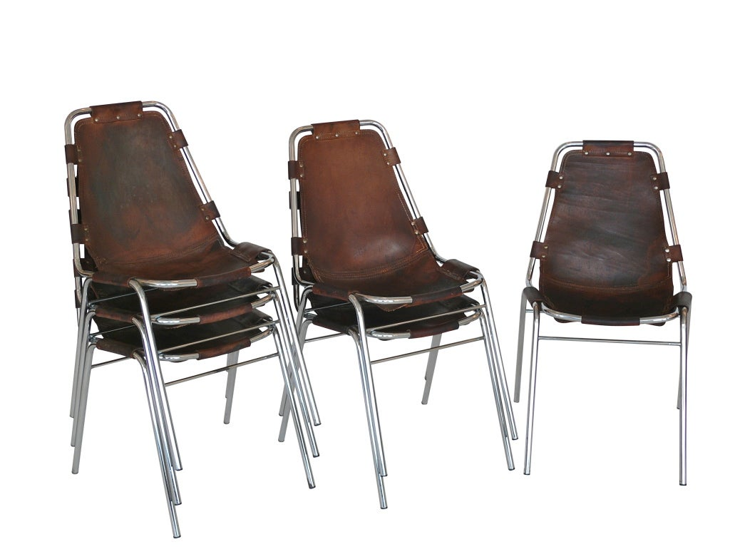 """Set of 6 """"Les Arc"""" Chairs by Charlotte Perriand 1"""