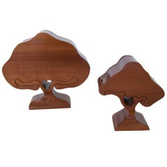 Pair of Sculptural Wood Tree Jewelry Boxes
