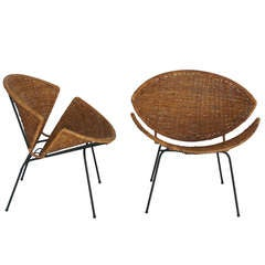 Wicker and Iron Scoop Chairs by John Salterini