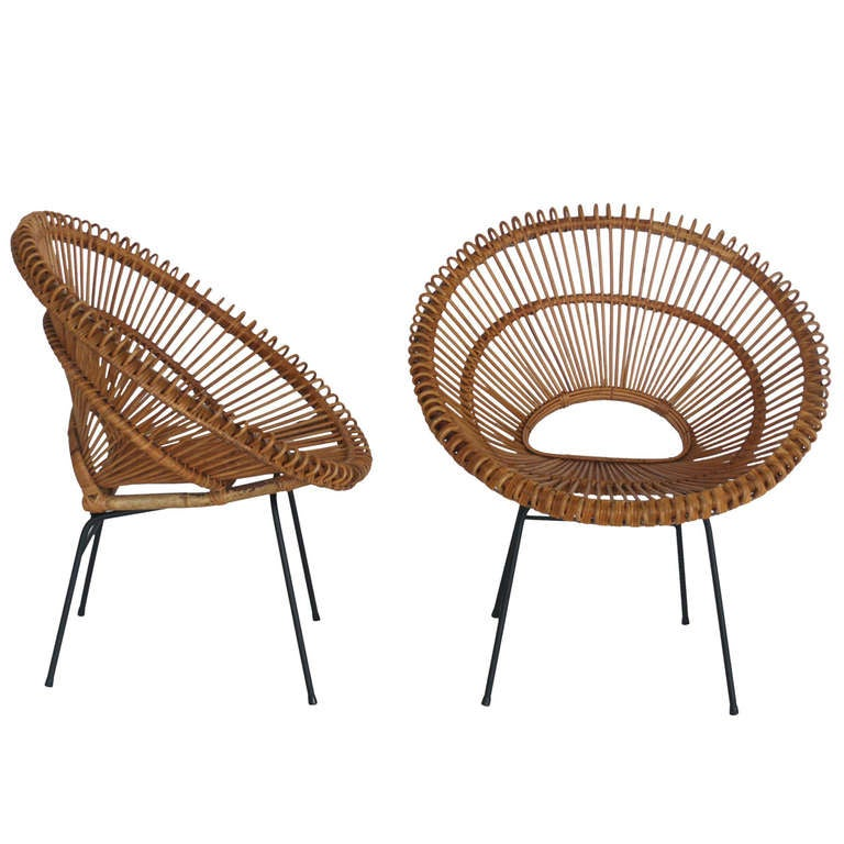Rattan Bucket Chairs in the style of Franco Albini at 1stdibs