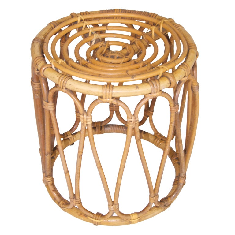 Vintage French Bamboo Stool At 1stdibs