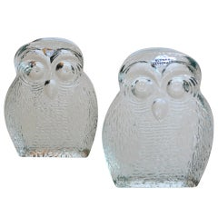 """Unique """"Owl"""" Glass Bookends by Blenko"""