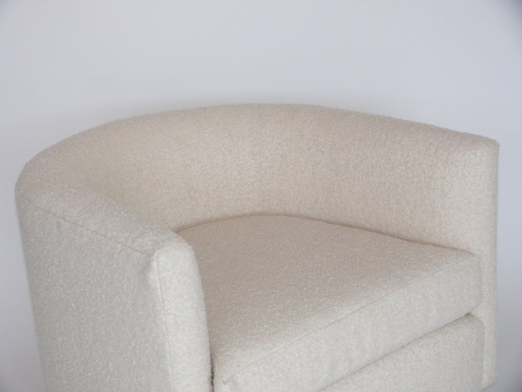 Pair Of Milo Baughman Style Wool Boucle Swivel Chairs At