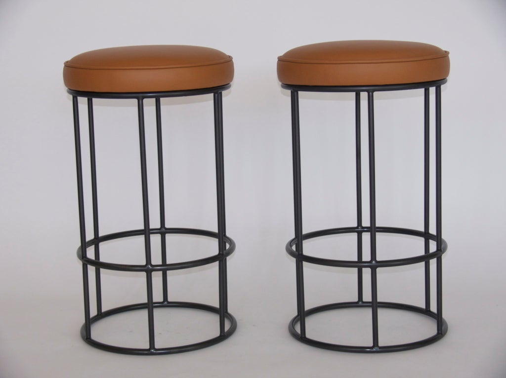 Tremendous Iron And Leather Circular Bar Stools Gmtry Best Dining Table And Chair Ideas Images Gmtryco