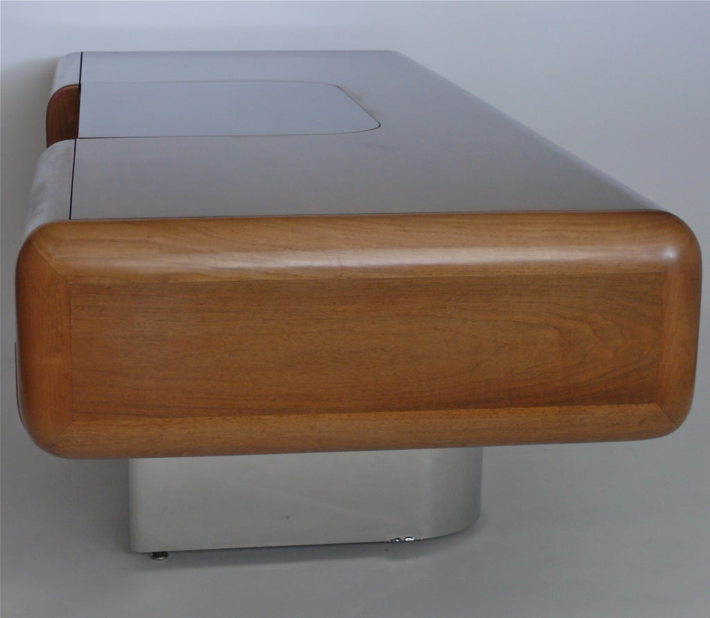 Walnut And Stainless Steel Desk By M F Harty For Stow