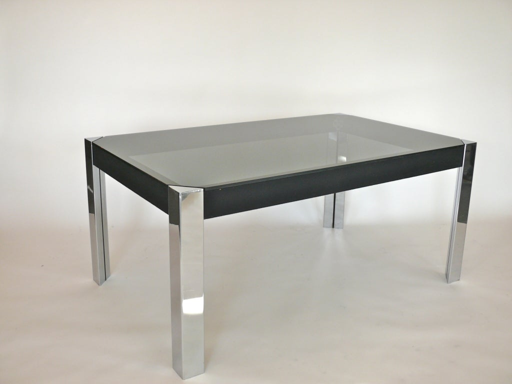 Black Glass And Chrome Dining Table By Pace At 1stdibs