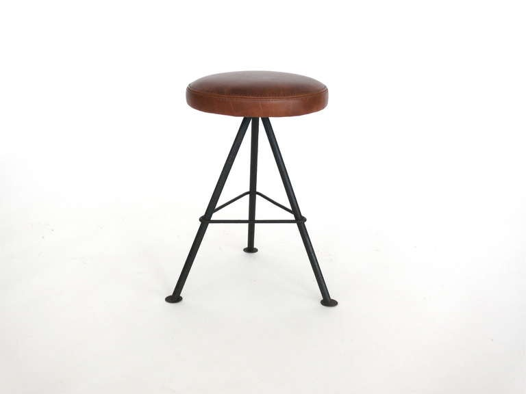 Petite Iron And Leather Stools At 1stdibs