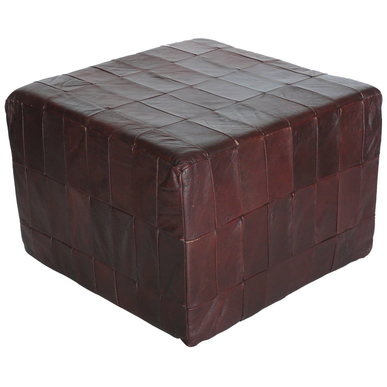 De Sede Leather Cube Ottoman At 1stdibs