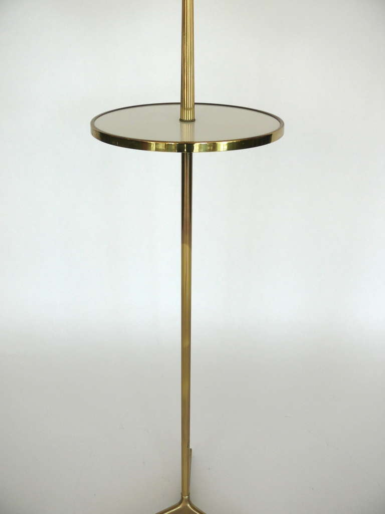 Standing brass vanity mirror with table at 1stdibs for Floor vanity mirror