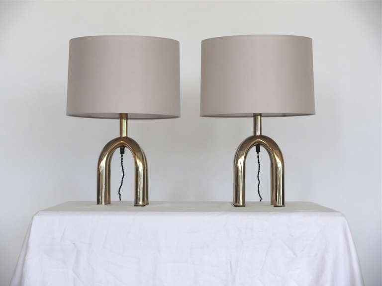 Petite Italian Brass Table Lamps For Sale 3