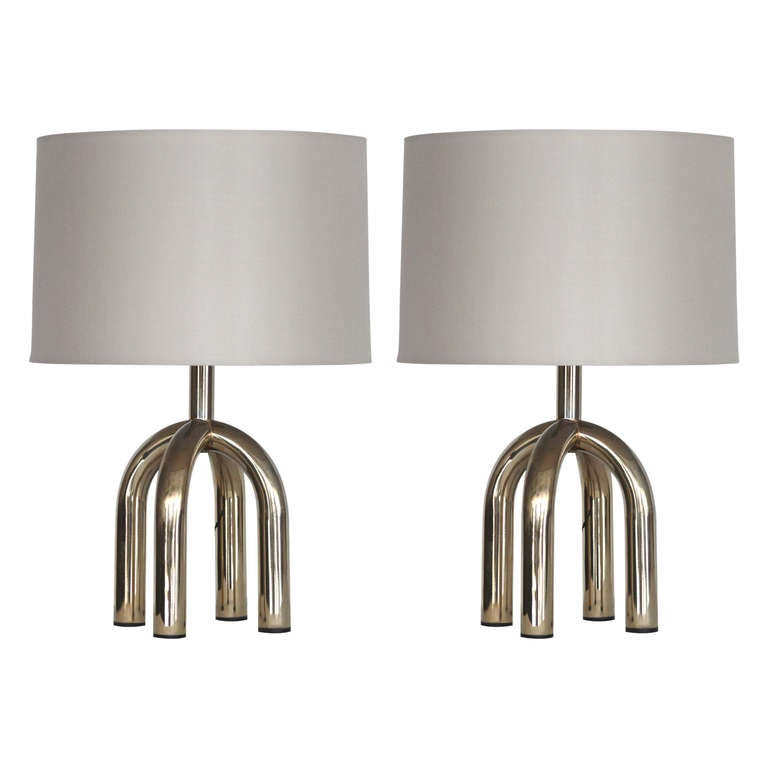 Petite Italian Brass Table Lamps For Sale