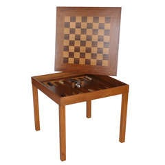 Large Danish Backgammon and Chess Table by Skovby Moebler