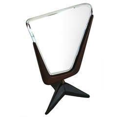 French Wood and Leather Vanity Mirror