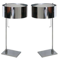 Pair of Chrome Desk Lamps