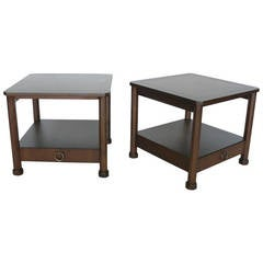 Pair of Wood Side Tables for Baker