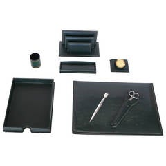 Green Leather Desk Set by Le Tanneur