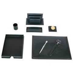 Green Leather Desk Set by Le Tanneur