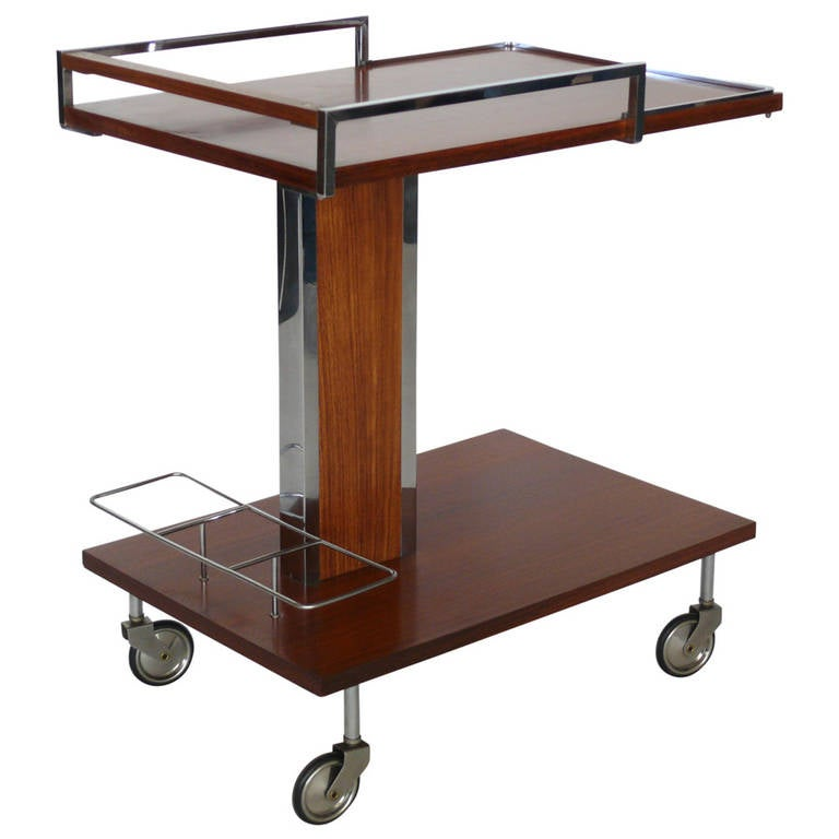 Wood And Chrome Bar Cart At 1stdibs