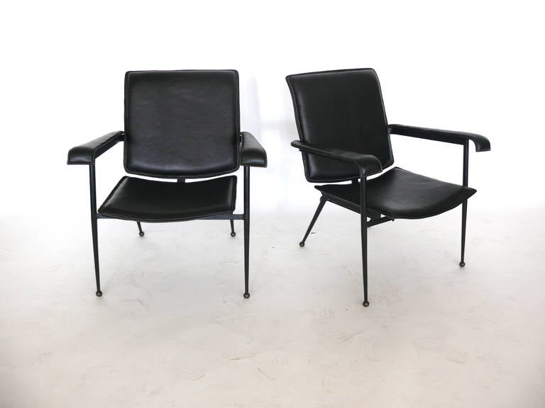 Pair of Leather Chairs by Jacques Adnet 2