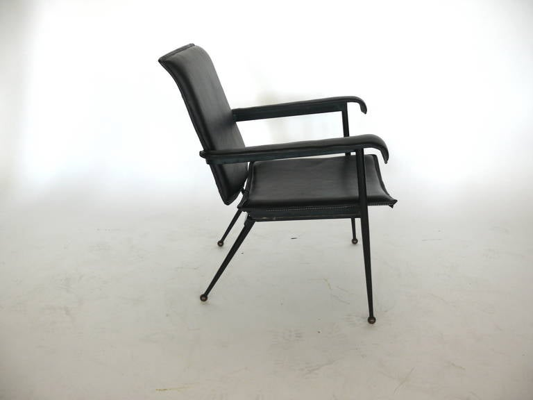 Pair of Leather Chairs by Jacques Adnet 5