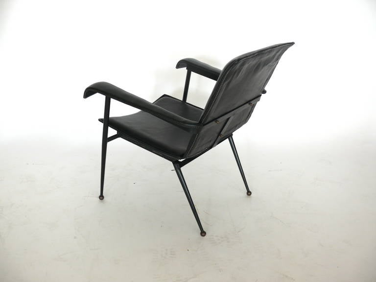 Pair of Leather Chairs by Jacques Adnet 8