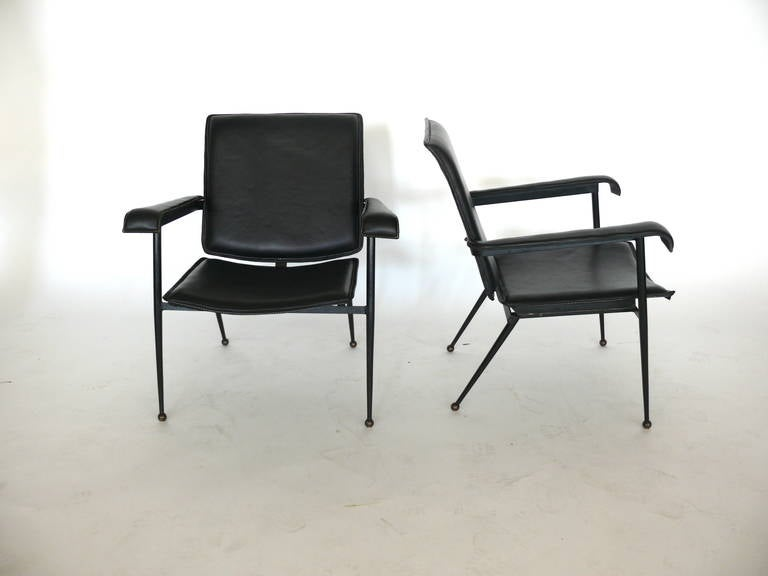 Pair of Leather Chairs by Jacques Adnet 10