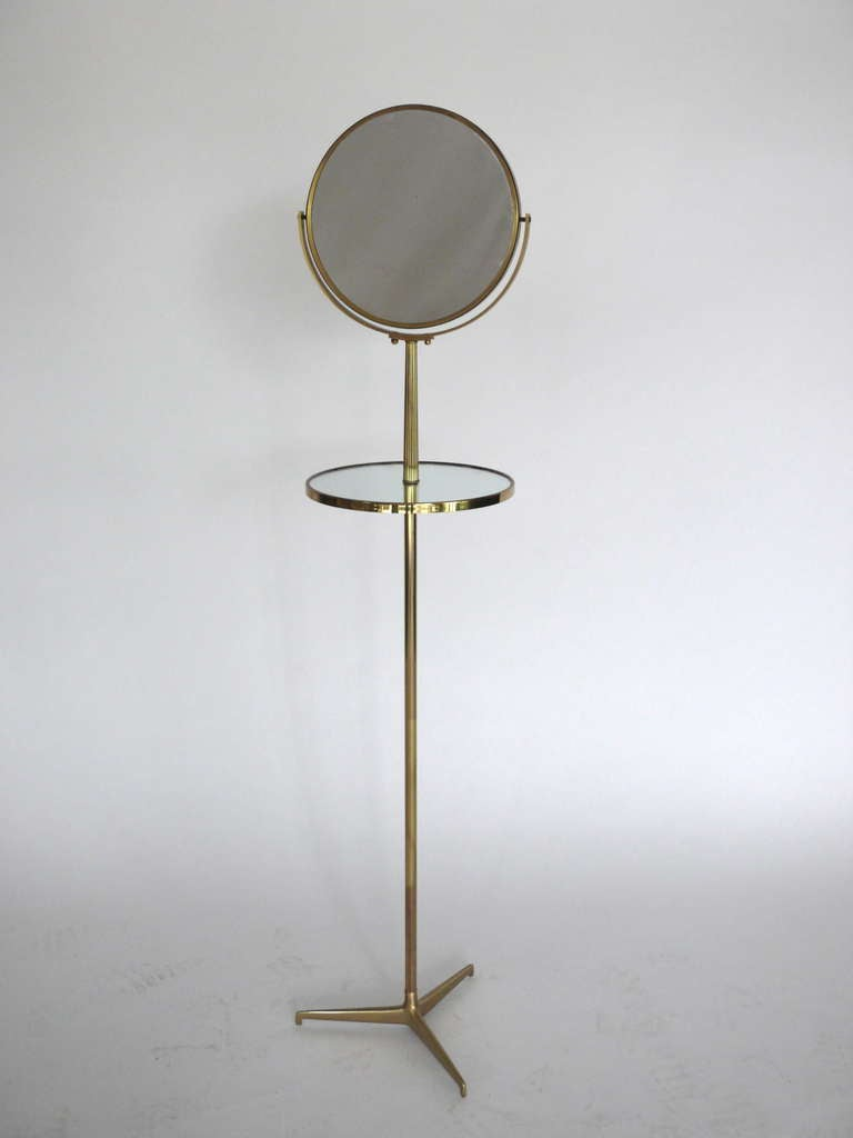 Standing brass vanity mirror with table at 1stdibs for Floor length vanity mirror