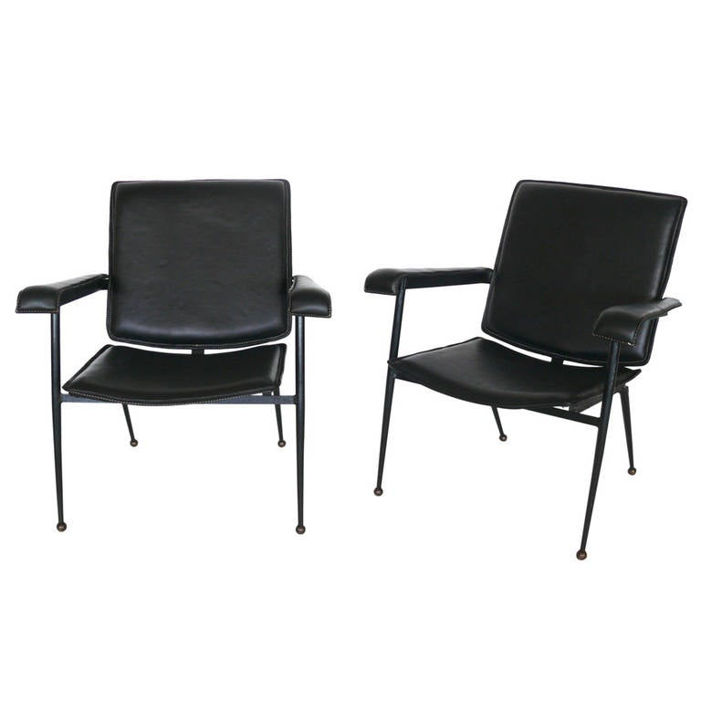 Pair of Leather Chairs by Jacques Adnet 1