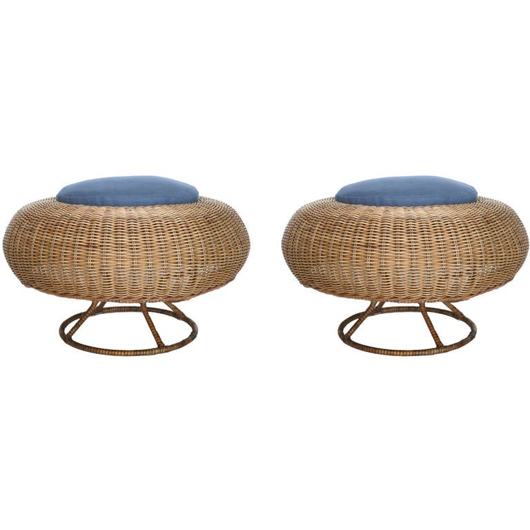 Rattan And Wicker Ottomans At 1stdibs