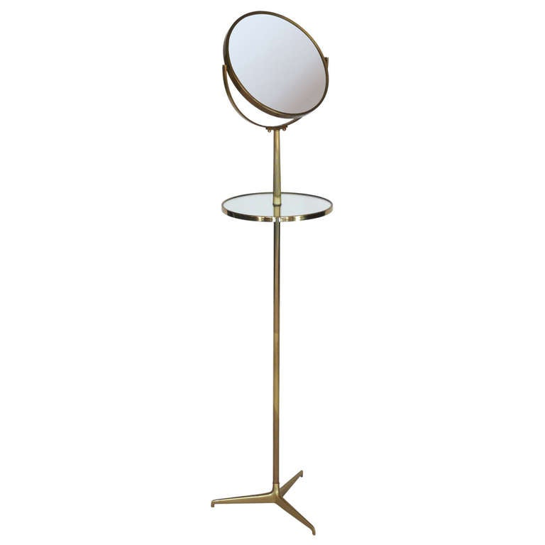 Standing Brass Vanity Mirror With Table At 1stdibs