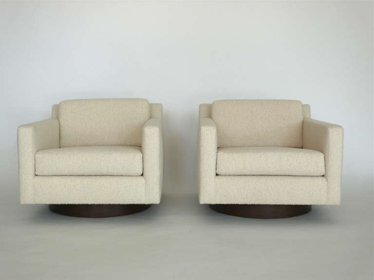 Square Wool Boucle Swivel Chairs For Sale 2