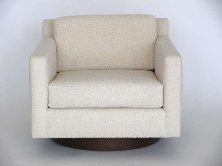 American Square Wool Boucle Swivel Chairs For Sale