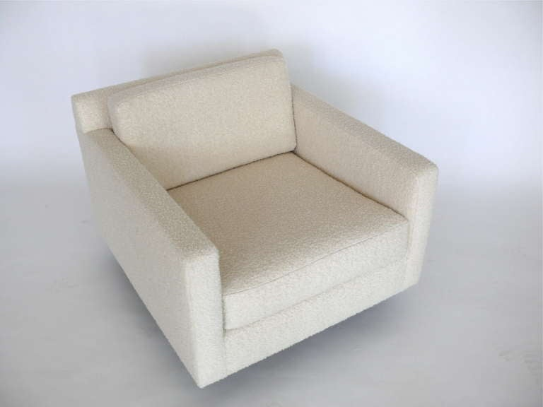 Bouclé Square Wool Boucle Swivel Chairs For Sale