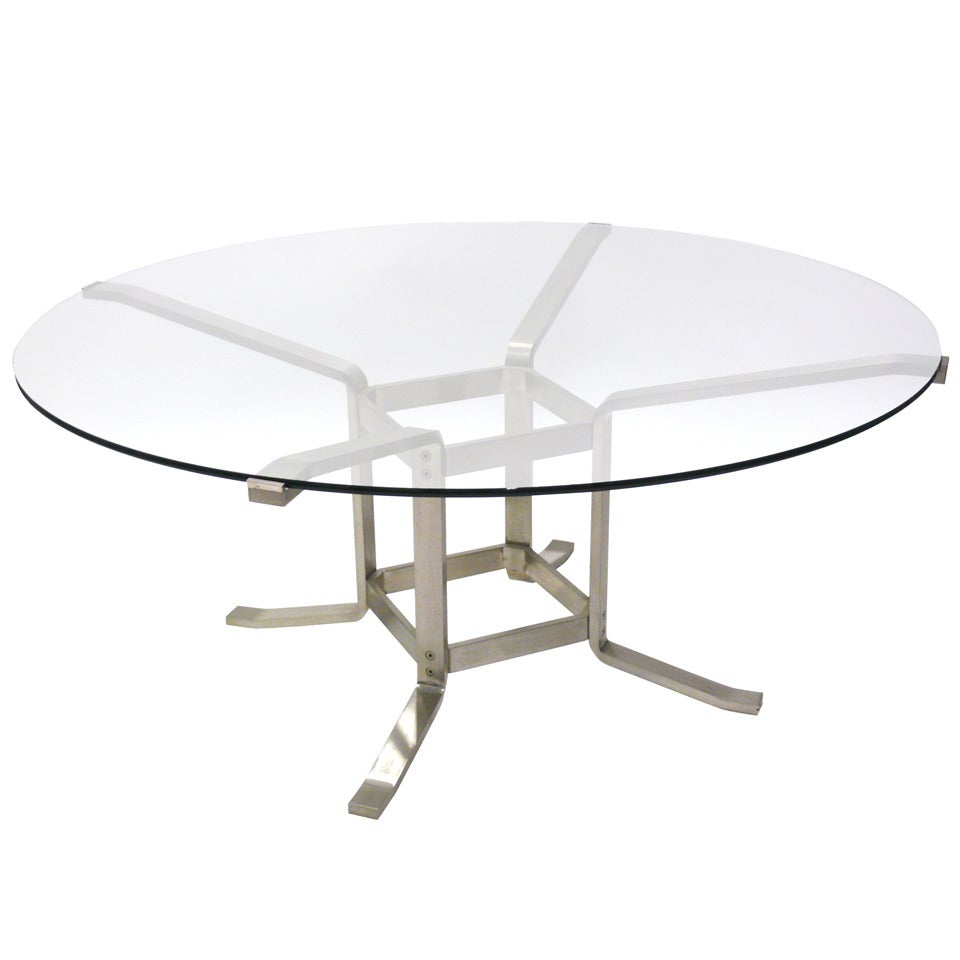 Italian Steel And Glass Game Table For Sale At 1stdibs
