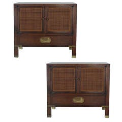 Pair of Wood and Cane Nightstands for Baker