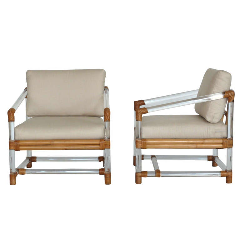 Lucite And Bamboo Club Chairs By Mcguire For Four Seasons At 1stdibs