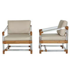 Lucite and Bamboo Club Chairs by McGuire for Four Seasons