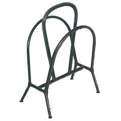 Green Leather Adnet Magazine Rack