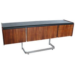 Rosewood and Chrome Credenza by Ste. Marie & Laurent