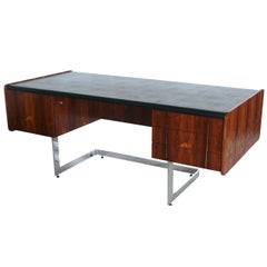 Rosewood and Chrome Desk by Ste. Marie & Laurent