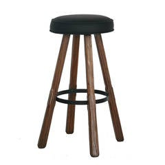 Oak and Leather Swivel Barstools by Brandt Ranch