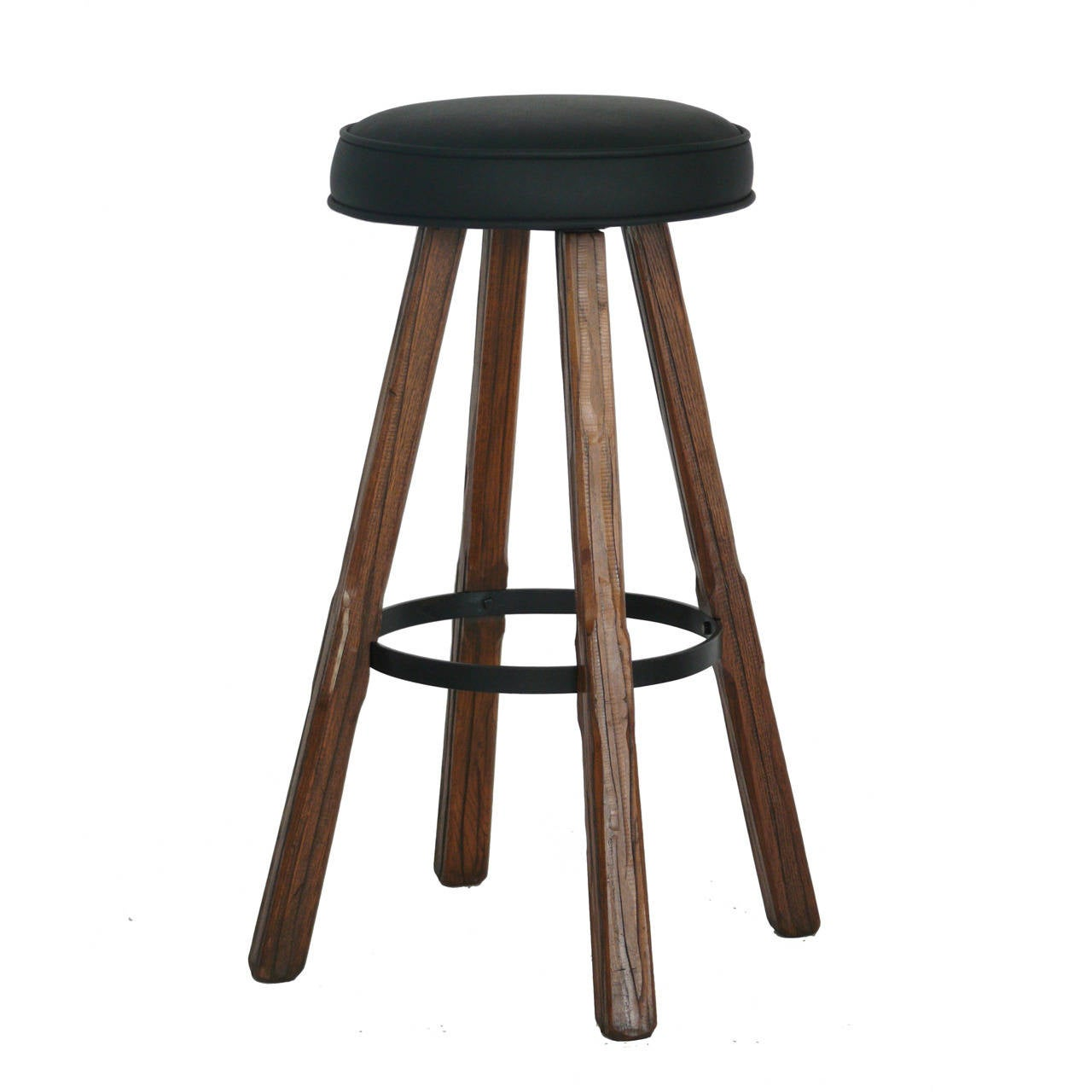 Oak And Leather Swivel Barstools By Brandt Ranch At 1stdibs