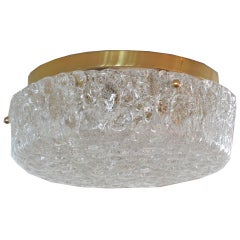 German Glass and Brass Circular Flush Mount